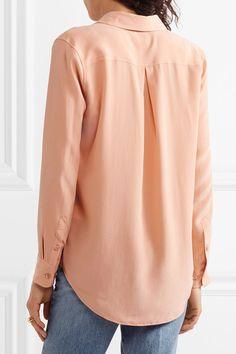 Equipment - Essential Silk Crepe De Chine Shirt - Orange