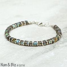 Men's labradorite bracelet solid Karen Hill Tribe by NanandBiz