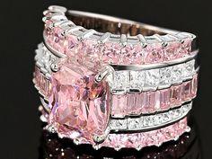 Bella Luce (R) 11.68ctw Pink & White Diamond Simulant Rhodium Over Silver Ring (8.81ctw Dew)