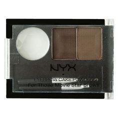 NYX Cosmetics Eyebrow Cake Powder For Those Movie Star Brows in Dark Brown/Brown, $6 via ULTA.Com