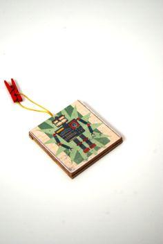 Chalkboard Ornament Robot  Gift tags  Kids ornament  Ready by Mmim, $3.00