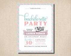 Printable Bachelorette Invitation - Pretty pastel bachelorette invitation