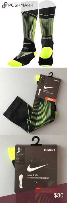 Nike Elite over-the-calf compression socks 6-7.5 Brand new in packaging. Running socks. Graduated compression. Neon yellow/like green and black. Bundle to save 25%! Nike Accessories Hosiery & Socks
