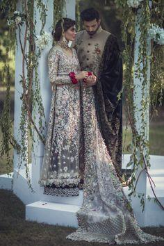 "Pakistani couture Elan's ""Palais Indochine"" bridal campaign featuring Amna Baber and Jahan e Khalid. Photographed by Abdullah Haris. Asian Wedding Dress, Pakistani Wedding Outfits, Pakistani Wedding Dresses, Indian Dresses, Indian Outfits, Pakistan Wedding, Pakistan Bride, Desi Wedding, Wedding Wear"