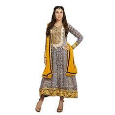 Chic Yellow & Blue Embroidered Anarkali Comes With Beige color santoon Bottom,Yellow Color santoon Dupatta.This suit which can be customzied up to bust size ,Top length Top:Approx 42