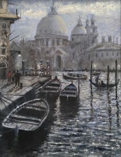 "For Sale: Barges in Venice by John Paul | $1,530 | 8""w 10""h 