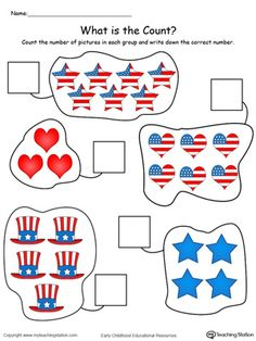**FREE** of July Count and Write the Number in Color Worksheet.Count and write the numbers in this patriotic math printable worksheet. 4th July Crafts, Fourth Of July Crafts For Kids, Patriotic Crafts, Patriotic Decorations, 4th Of July, Birthday Decorations, Math Activities For Kids, Preschool Worksheets, Preschool Activities