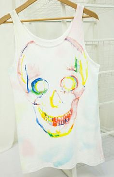 #SheInside White Paintily Skull Print Sleeveless Tank Top