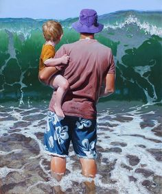 Testing the Waters by New Zealand artist Barry Ross Smith, Beach Art Nz Art, Art For Art Sake, New Zealand Art, Kiwiana, Painting People, People Art, Beach Art, Art Lessons, Watercolor Paintings