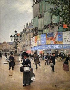 Jean Beraud- The work includes an overview of the central street of Paris since its opening in Boulevard Haussmann. To the right of the street, the building of the department stores 'Printemps' in its reconstruction phase after the fire that destroyed it in 1881.