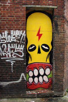 Sweet Toof graffiti, Brick lane London Brick, Street Art London, Graffiti Characters, Brick Lane, Stencil Art, Painted Doors, Street Art Graffiti, Urban Art, Artisan