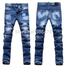 Hot sale ! Free Shipping , 2015 New Arrival famous DSQ brand Cotton Men's straight Jeans fashion casual Slim hole beggar pants $47.35