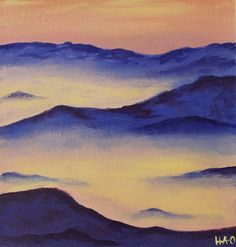 """Original Landscape Painting / 6""""x6"""" Small Mountain Painting on Etsy, $45.00"""