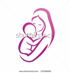 mother and her baby silhouette, isolated vector symbol - stock vector