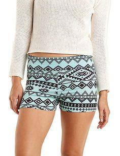 Tribal Print Bike Shorts: Charlotte Russe #charlotterusse #charlottelook #tribal #shorts
