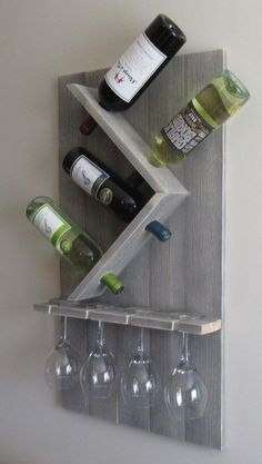 Wine Bottle and Glass Wine Holder Rustic Wall Wine Rack Wine Rack Wall Mounted Best Picture For DIY Wine Rack wire For Your Taste You are looking for something, and it is going to tell you exactly wha Wine Bottle Rack, Wine Rack Wall, Wine Glass Rack, Wine Bottle Holder Wall, Beer Bottles, Bottle Stoppers, Glass Bottle, Rustic Wine Racks, Pallet Wine Racks