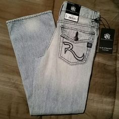 Authentic Rock & Republic Boys jeans R&R Engineer RK 20731 in size 7R slim fit with straight leg. Brand new with tags. A Hidden elastic adjustable waistband inside. Rock & Republic Jeans Straight Leg