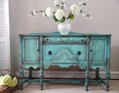 RESERVED for Bridgette - Hand Painted Romantic Vintage Victorian Jacobean Aqua Jade Blue Green Turquoise Sideboard Cabinet Buffet on Etsy, $750.00