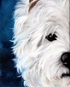 PRINT Westie West Highland Terrier Dog Puppy Art Oil Painting Home Decor / Mary Sparrow Smith by HangingtheMoonShelby on Etsy https://www.etsy.com/listing/99898588/print-westie-west-highland-terrier-dog
