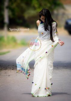 Beautiful white saree, with sprinkling colored tassels, ARIA Ethnic Indian Sarees,