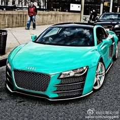 Audi R8 in Tiffany Blue...if I could have a car in my favorite color this would be the car and the color <3