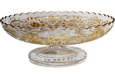 Etched Crystal Cake Stand