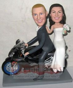 WowMiniMe.com 100% handmade custom cake toppers look like you- Groom Carried Bride Cake Toppers-Motorcycle Wedding Cake Toppers 685