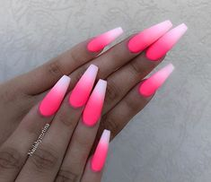 Hot Pink Ombre Nails Beautiful hot pink ombre coffin nails with matte finish by Ugly Duckling Nails page is dedicated to promoting quality, inspirational nails created by International Nail Simple Black Coffin Nail Designs For Winter Holidays Pink Ombre Nails, Pink Acrylic Nails, Neon Nails, Swag Nails, Hot Pink Nails, Pink Acrylics, Summer Nails Neon, Black Nails, Bright Pink Nails With Glitter