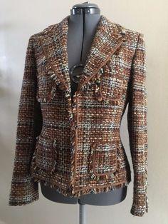 Daniele O Tahari Levine Brown Blue Plaid Frayed Tweed Cropped Jacket Size 8  #Tahari #BasicJacket #WeartoWorkCasualDinner