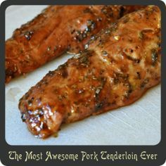 "The Most Awesome Pork Tenderloin Ever, Directions: Preheat your oven to 350º. Spray an 11"" x 17"" baking dish with cooking spray. Use a sharp knife to poke 6 holes along the topside of each of the tenderloins going about an inch deep. Push a sliver of garlic into each hole and place the tenderloins in the baking dish. In a small bowl whisk together the soy sauce, mustard, honey, juice, rosemary, pepper, and olive oil. Pour the marinade over the tenderloins. Bake uncovered for 45 minutes…"