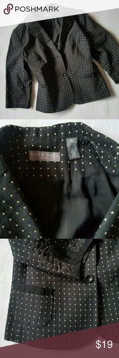 Kate Hill polka dot blazer size 10p EUC no flaws. Super cute blazer with adorable bow details on the two front pockets and slit detail on the 3/4 ) length sleeves. The color is black with cream colored polka dots (there are no discoloration in the fabric, just less than perfect lighting when I took the pictures; will update with better pictures). Length 21 inches, chest across 19.5 inches. Kate Hill Jackets & Coats Blazers