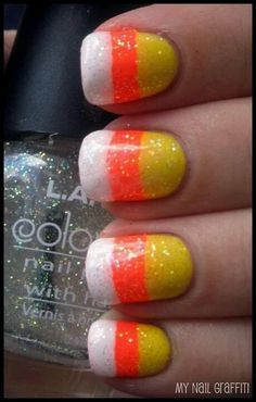 Maybe do one nail like this, and the rest in either the yellow or the orange.