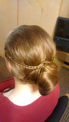 Side view. I did to side braids that went into the bun.