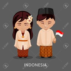 Illustration of Indonesians in national dress with a flag. Man and woman in traditional costume. Travel to Indonesia, Bali. vector art, clipart and stock vectors. Costumes Around The World, Cute Letters, Flat Illustration, Illustrations, Butterfly Wall, Drawing For Kids, Cartoon Drawings, Figurative Art, Traditional Outfits