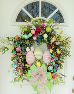 Easter Wreath Spring Wreath with Easter Eggs and Butterflies