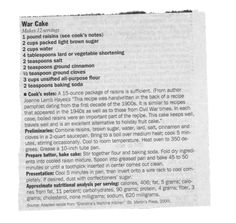 """This recipe was handwritten in the back of a recipe pamphlet dating from the first decade of the 1900's. It is similar to recipes that appeared in 1940's as well as those from Civil War Times. **Adapted from """"Grandma's wartime kitchen""""."""