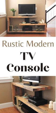 Brag post on anawhite.com! Just finished up this unique TV console. Built from reclaimed pallet wood. #anawhite #anawhiteplans #diy #diyfurniture #tvconsole #rusticconsole Tv Console Modern, Modern Tv, Modern Rustic, Recycled Wood Furniture, Diy Furniture Plans, Furniture Projects, Wood Ideas, Diy Ideas, Media Center