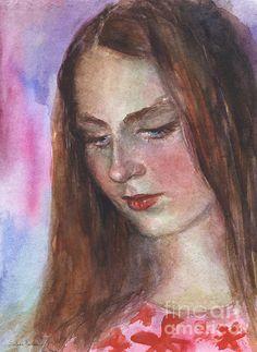 Young woman watercolor portrait painting by Svetlana Novikova, www.SvetlanaNovikova.com