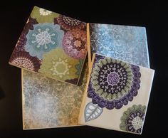 DIY coasters - ceramic tile, scrapbook paper, modge podge, and water resistance clear spray