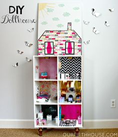 A cute DIY dollhouse form Our Fifth House. Instead of Mod Podge and paper on canvas, different Washi tape patterns on canvas can be used to create the same brick effect.