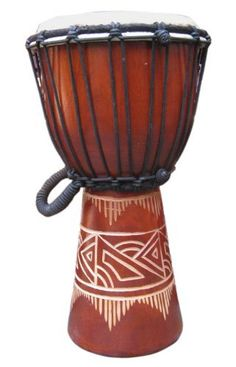 """Brown Line-Carved Djembe: 15""""-16"""" Tall x 8""""-9"""" Head, Quality #2 Djembe Drum by Mother Rhythm Drums. $46.00. Great smallish drum for the younger player looking to embark on their djembe journey. Offers a sharp, simple design with excellent sound. These are considered a quality #2 djembe drum. As with any hand made wooden item, there may be imperfections here and there, including areas filled in with wood filler and translucent skin spots. This does not have a negative i..."""