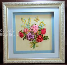 Framed Ribbon Flower Embroidery Bouquet Floral by RibbonEmroidery