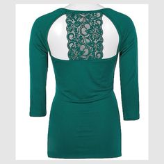 Boutique Lace Back Top Stunning teal green Boutique lace back top. 3/4 sleeve with v-neck and lace Racerback cut on the back. Only worn once, excellent condition! Trades PayPal Buckle Tops