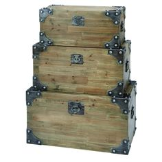 Woodland Imports 53173 Vintage Appeal Wooden Trunk with Fitted Bolts - Set of 3