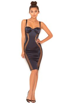 Clothing : Bodycon Dresses : 'Micah' Navy Satin and Mesh Bustier Dress