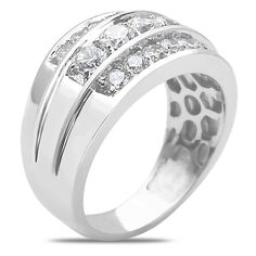NissoniJewelry.com presents - Men's 2CT Diamond Triple Row Ring in 14k White Gold with a Cage Back    Model Number:GR9618P-W477    Price:$2899.99    https://nissonijewelry.com/jewelry/men-s-2ct-diamond-triple-row-ring-in-14k-white-gold-with-a-cage-back/gr9618p-w477.html