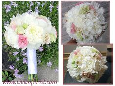 This fresh spring bridal bouquet has this gentle tone of white and pink. It is made with peonies, orchids, lisianthus and carnations Wedding Flower Arrangements, Wedding Flowers, Spring Bouquet, Bridal Bouquets, Carnations, Peonies, Floral Wreath, Wreaths, Fresh