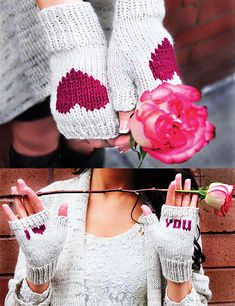 "Ravelry: ""Be My Valentine"" Flirty Fingerless Gloves with Vday Messages in Girls and Adult Sizes pattern by Lauren Riker"