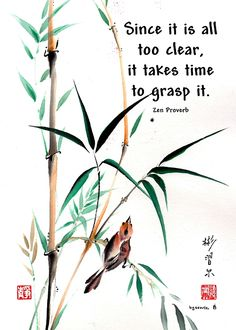 """""""Dot"""" Spontaneous (Xie Yi) style Chinese brush painting on rice paper by bgsearle with Zen proverb."""