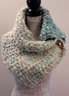 Crochet seafoam green button scarf. Katniss Inspired by BeadGs